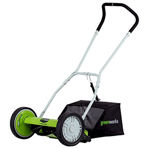 "4. GreenWorks 16"" Reel Lawn Mower (25052)"