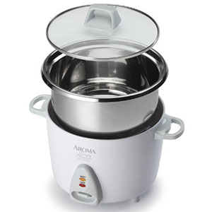 2. Aroma Housewares White Rice Cooker (6-Cup Cooked Rice)