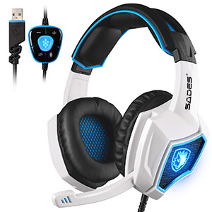 8. Sades 2017 New Updated Black White Gaming Headset
