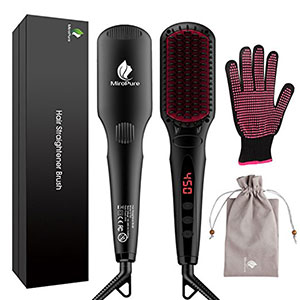 4. MiroPure Black 2 in 1 Hair Straightener Brush