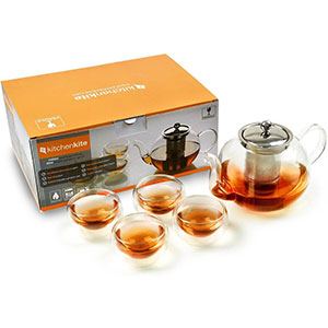 6. Kitchen Kite Tea Kettle with Extra 4 Double Wall 80ml Cups