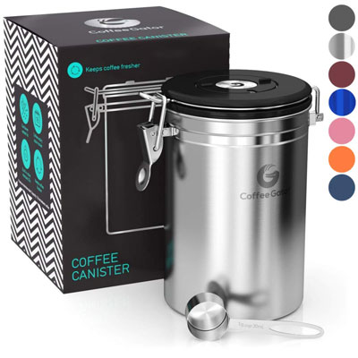 1. Coffee Gator Large Stainless Steel Canister Vault