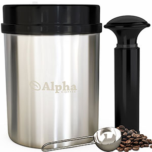 8. Alpha Coffee Stainless Steel Canister and Scoop (UPGRADED MODEL)