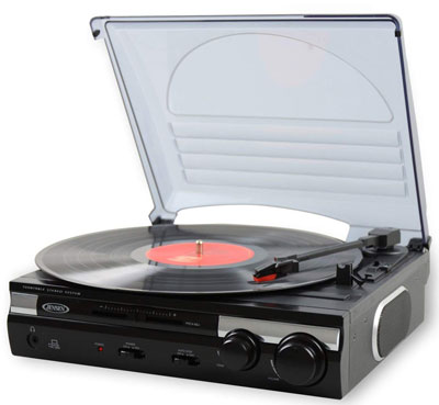 1. Jensen JTA-230 3 Speed Stereo Turntable