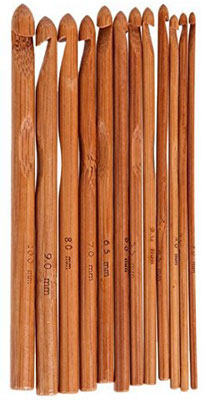 9. ZXUY 12-Piece Bamboo 6'' Handle Crochet Hook