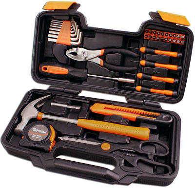 1. Cartman Orange 39-Piece Tool Set