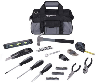 8. AmazonBasics 65-Piece Home Repair Kit