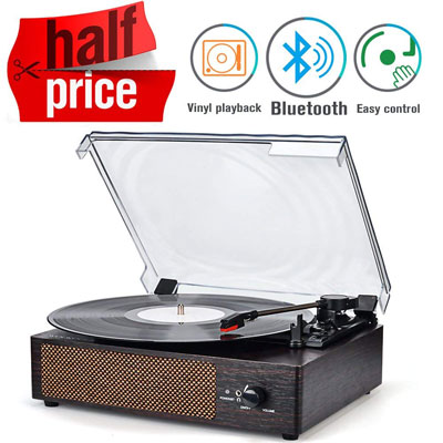 8. WOCKODER Record Player 3-Speed Turntable