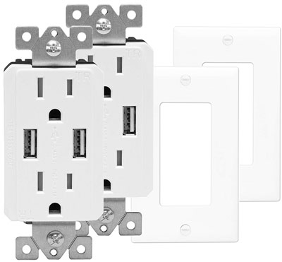 4. TopGreener TU2152A Pack of 2 USB Wall Outlets