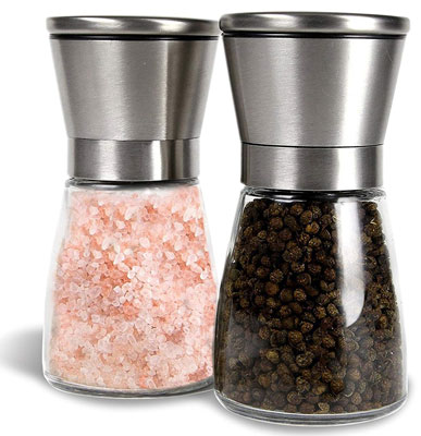 2. Tundras Set of 2 Premium G Stainless Steel Pepper and Salt Grinders