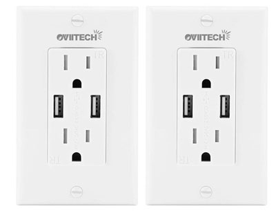3. OviiTech Pack of 2 High-Speed USB Wall Charger