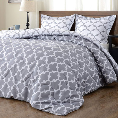 10. downluxe Down Alternative 3-Piece Comforter Set with 2 Reversible Pillow Shams
