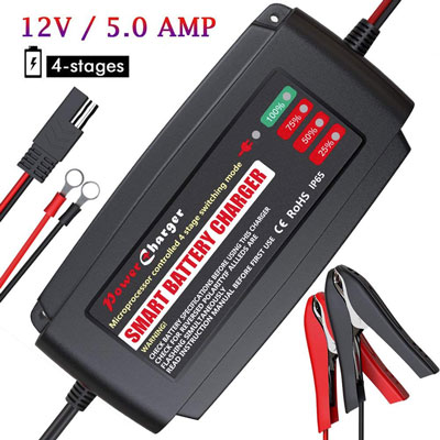 7. BMK 5A 12V Detachable Smart Portable Battery Maintainer