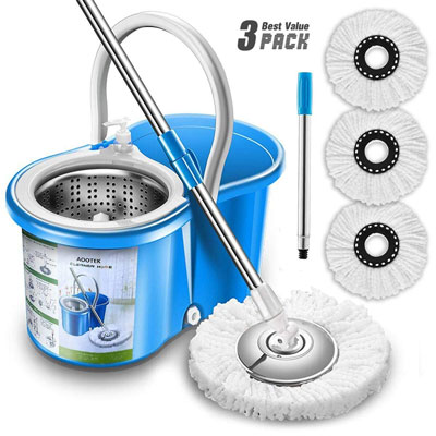 2. Aootek Stainless Steel 360 Spin Mop & Bucket