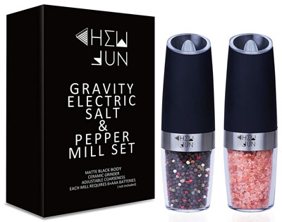 9. Chew Fun Set of Two Gravity Pepper and Salt Grinders