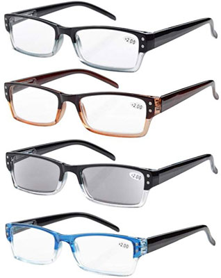 8. Eyekepper 4-Pack Rectangular 1.5 Reading Glasses