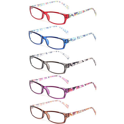 5. Kerecsen 5-Pair Ladies Fashion Reading Glasses