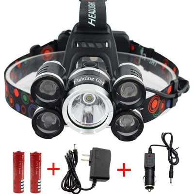 7. FightingGirl 12000 Lumen 5 Led Headlamp