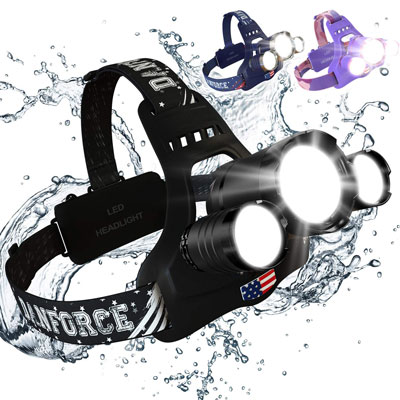 4. DanForce Brightest Head Lamp, With Red Light