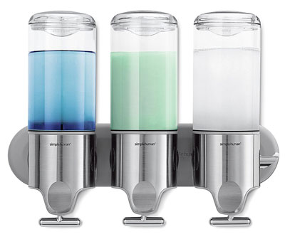 4. Simplehuman Wall-Mount Triple Shower Soap Dispenser