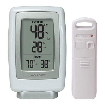 10. AcuRite Wireless Indoor/Outdoor Thermometer and Humidity Sensor (00611A3)