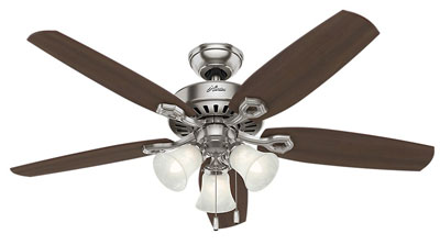 3. Hunter 53237 52-Inch Ceiling Fan with Five Blades and Glass Light Kit