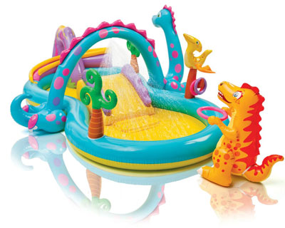 3. Homelux Inflatable Dinoland Mini Water Park Play Center