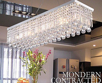 8. CRYSTOP Rectangle Modern Crystal Chandeliers