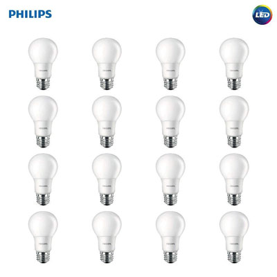 1. Philips LED Non-Dimmable A19 Frosted Light Bulb (16-Pack)