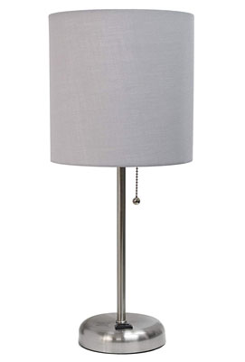 2. Limelights LT2024-GRY Lamp with Charging Outlet and Fabric Shade