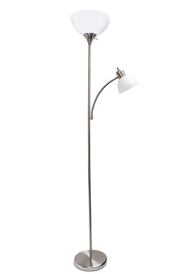 8. Simple Designs LF2000-BSN Brushed Floor Lamp