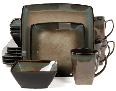 5. Gibson Elite Tequesta 16 Piece Square Dinnerware Set