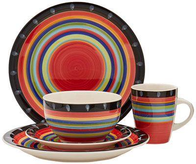 9. Gibson Home 97694.16r Case Stella 16-Piece Dinnerware Set