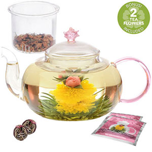 4. Teabloom Rose Teapot Set – 34 oz