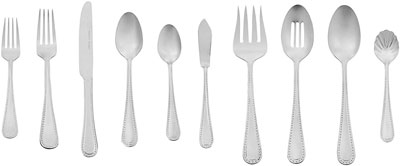 2. AmazonBasics 65-Piece Stainless Steel Flatware Set, Service for 12