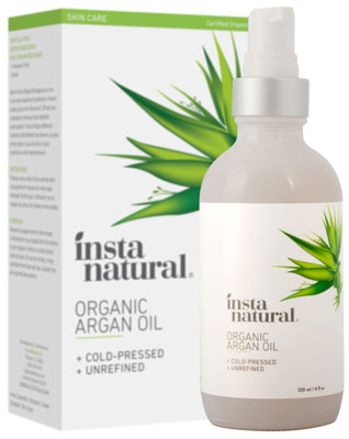 2. InstaNatural 4 oz Organic Argan Oil – for Hair, Face, Skin, and Body