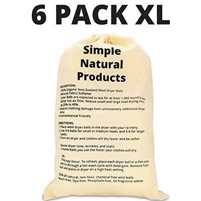 10. Simple Natural Products Wool Dryer Balls (6 XL Pack)