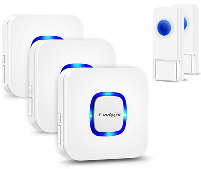6. Coolqiya Wireless Doorbell with 2 Remote Button and 3 Plugin Receiver