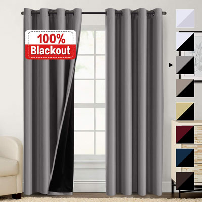 9. Flamingo P 100% Blackout Curtains for Bedroom