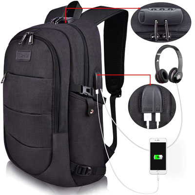 6. Tzowla Business Laptop Backpack with USB Charging Port and Lock
