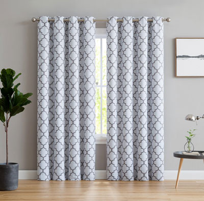 8. HLC.ME Lattice Print Thermal Insulated Curtains for Bedrooms