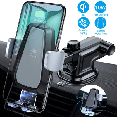C-Cable Included Compatible with 3.5-5.7 inch Smart Phones One Touch Release 2020 Upgraded 10W Car Air Vent Tagay Wireless Charging Mobile Phone Holder 360 Degree Rotation Design