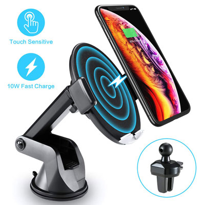 6. FLOVEME Wireless Car Charger with Touch Sensitive