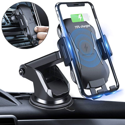 4. Homder Automatic Clamping Wireless Car Charger Mount
