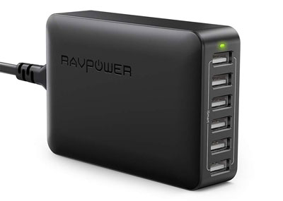 2. RAVPower 60W 12A 6-Port USB Charger