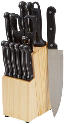 6. AmazonBasics 14-Piece Kitchen Knife Set