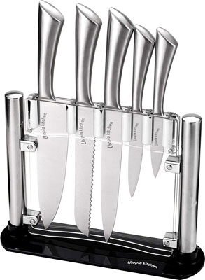 2. Utopia Kitchen Stainless Steel Kitchen 6 Piece Knives Set