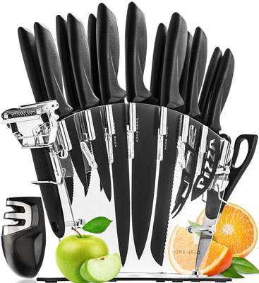 1. Home Hero Stainless Steel Knife Set with Block