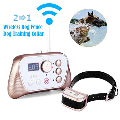 10. JUSTPET Wireless 2-in-1 Dog Fence Training Collar System
