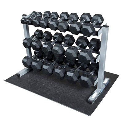 Body-Solid Horizontal Rubber Hex 3-Tier Dumbbell Set